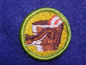 METALLURGY, MERIT BADGE WITH CLOTH BACK, GREEN BORDER