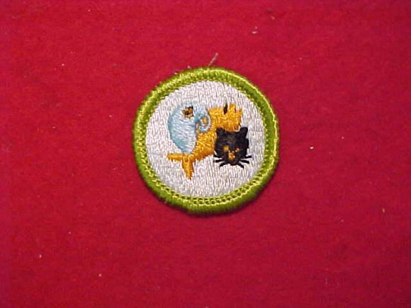 PETS, MERIT BADGE WITH CLOTH BACK, GREEN BORDER, 1969-72