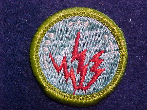 RADIO, MERIT BADGE WITH CLOTH BACK, GREEN BORDER