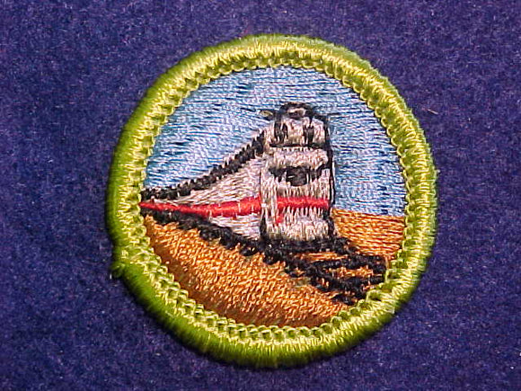 RAILROADING, MERIT BADGE WITH CLOTH BACK, GREEN BORDER