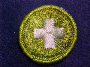 SAFETY, MERIT BADGE WITH CLOTH BACK, GREEN BORDER
