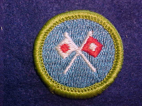 SIGNALING, MERIT BADGE WITH CLOTH BACK, GREEN BORDER