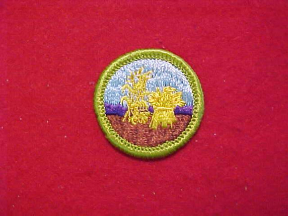 SMALL GRAINS, MERIT BADGE WITH CLOTH BACK, GREEN BORDER, 1960-72