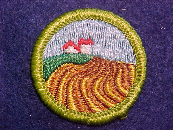 SOIL AND WATER CONSERVATION (VERTICAL ROWS), MERIT BADGE WITH CLOTH BACK, GREEN BORDER