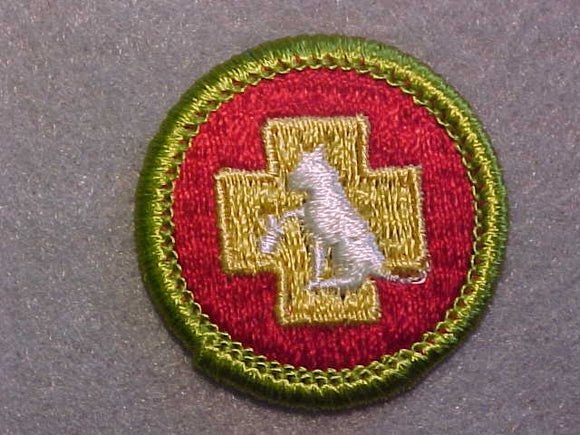 FIRST AID TO ANIMALS, MERIT BADGE WITH CLEAR PLASTIC BACK, GREEN BORDER, NO IMPRINTS/LOGOS IN PLASTIC