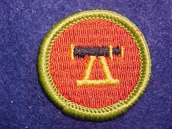 SURVEYING, MERIT BADGE WITH CLOTH BACK, GREEN BORDER