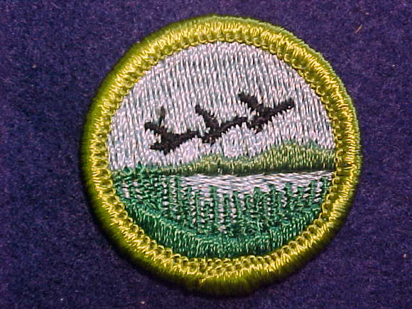 WILDLIFE MANAGEMENT, MERIT BADGE WITH CLOTH BACK, GREEN BORDER