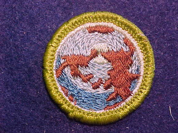 WORLD BROTHERHOOD, MERIT BADGE WITH CLOTH BACK, GREEN BORDER