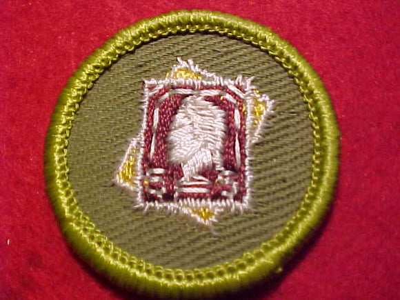 STAMP COLLECTING, ROLLED EDGE TWILL BKGR. MERIT BADGE