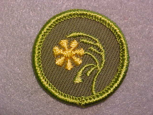BOTANY, ROLLED EDGE TWILL BACKGROUND MERIT BADGE