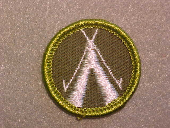 CAMPING, ROLLED EDGE TWILL BACKGROUND MERIT BADGE