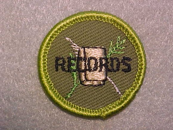 FARM RECORDS AND BOOKKEEPING, ROLLED EDGE TWILL BACKGROUND MERIT BADGE