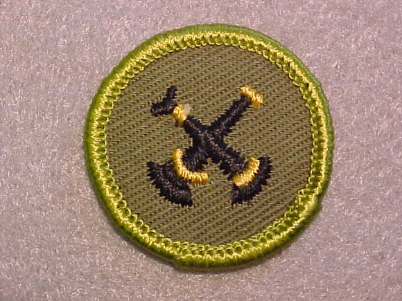 FIREMANSHIP, ROLLED EDGE TWILL BACKGROUND MERIT BADGE