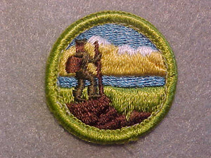 HIKING, MERIT BADGE WITH CLEAR PLASTIC BACK, GREEN BORDER, NO IMPRINTS/LOGOS IN PLASTIC