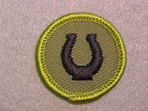 HORSEMANSHIP, ROLLED EDGE TWILL BACKGROUND MERIT BADGE