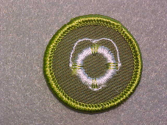 LIFE SAVING, ROLLED EDGE TWILL BACKGROUND MERIT BADGE