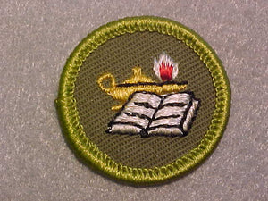 READING, ROLLED EDGE TWILL BACKGROUND MERIT BADGE