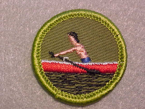 ROWING (PINK BOY), ROLLED EDGE TWILL BACKGROUND MERIT BADGE