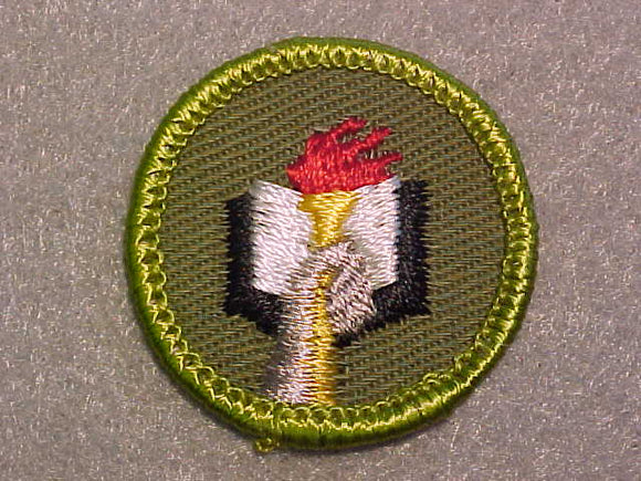 SCHOLARSHIP, ROLLED EDGE TWILL BACKGROUND MERIT BADGE
