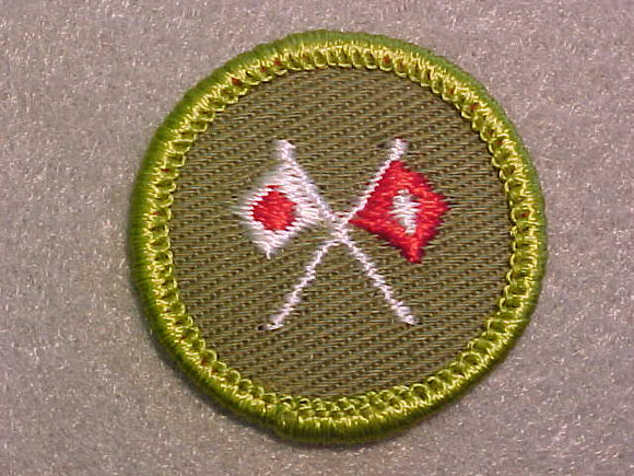 SIGNALING, ROLLED EDGE TWILL BACKGROUND MERIT BADGE