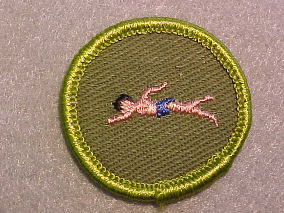 SWIMMING (PINK BOY), ROLLED EDGE TWILL BACKGROUND MERIT BADGE