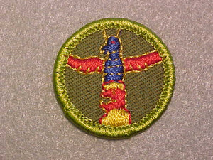 WOOD CARVING/ CRAFTWORK IN WOOD CARVING, ROLLED EDGE TWILL BACKGROUND MERIT BADGE