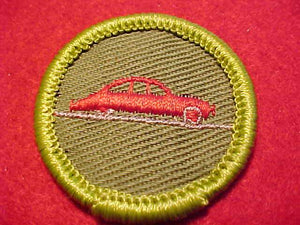 AUTOMOBILING, ROLLED EDGE TWILL BKGR. MERIT BADGE