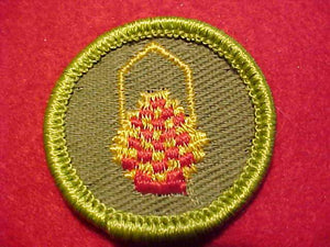 BASKETRY, ROLLED EDGE TWILL BKGR. MERIT BADGE