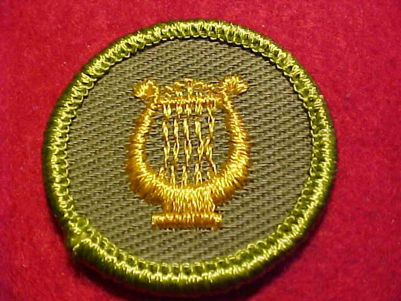 MUSIC, ROLLED EDGE TWILL BKGR. MERIT BADGE