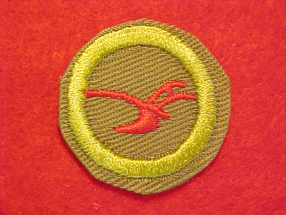 AGRICULTURE, MERIT BADGE WITH CRIMPED EDGE, KHAKI, ISSUED 1946-60