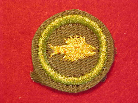 ANGLING/ FISHING, MERIT BADGE WITH CRIMPED EDGE, KHAKI, ISSUED 1946-60