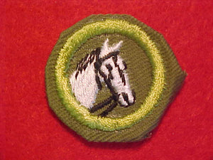 ANIMAL INDUSTRY, MERIT BADGE WITH CRIMPED EDGE, KHAKI, ISSUED 1946-60