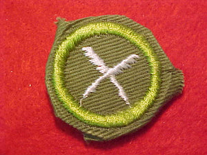 BUSINESS, MERIT BADGE WITH CRIMPED EDGE, KHAKI, ISSUED 1946-60