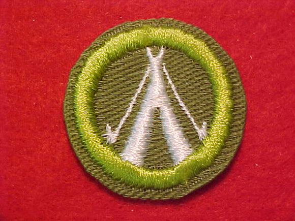 CAMPING, MERIT BADGE WITH CRIMPED EDGE, KHAKI, ISSUED 1946-60