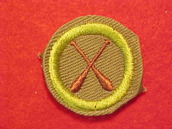 CANOEING, MERIT BADGE WITH CRIMPED EDGE, KHAKI, ISSUED 1946-60