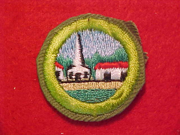 CITIZENSHIP IN THE COMMUNITY, MERIT BADGE WITH CRIMPED EDGE, KHAKI, ISSUED 1946-60
