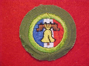 CITIZENSHIP IN THE NATION, MERIT BADGE WITH CRIMPED EDGE, KHAKI, ISSUED 1946-60
