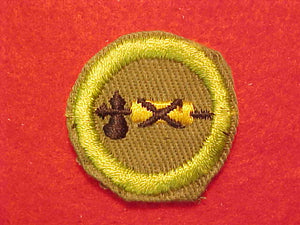 CIVICS, MERIT BADGE WITH CRIMPED EDGE, KHAKI, ISSUED 1946-60