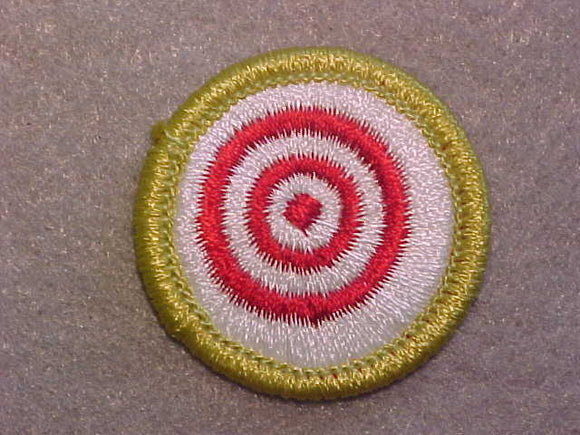 MARKMANSHIP, MERIT BADGE WITH CLEAR PLASTIC BACK, GREEN BORDER, NO IMPRINTS/LOGOS IN PLASTIC