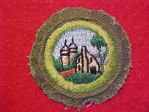 FARM HOME AND PLANNIG, MERIT BADGE WITH CRIMPED EDGE, KHAKI, ISSUED 1946-60