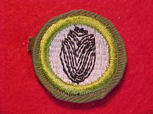 FINGERPRINTING, MERIT BADGE WITH CRIMPED EDGE, KHAKI, ISSUED 1946-60
