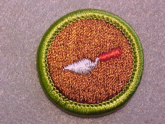 MASONRY, MERIT BADGE WITH CLEAR PLASTIC BACK, GREEN BORDER, NO IMPRINTS/LOGOS IN PLASTIC