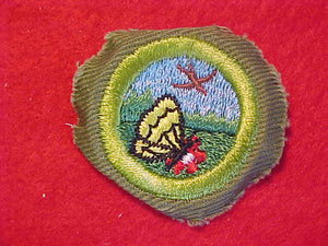 NATURE, MERIT BADGE WITH CRIMPED EDGE, KHAKI, ISSUED 1946-60