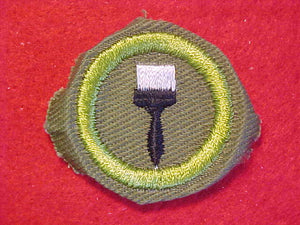 PAINTING, MERIT BADGE WITH CRIMPED EDGE, KHAKI, ISSUED 1946-60