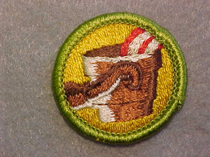 METALLURGY/ METAL ENGINEERING, MERIT BADGE WITH CLEAR PLASTIC BACK, GREEN BORDER, NO IMPRINTS/LOGOS IN PLASTIC