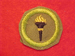 PUBLIC HEALTH, MERIT BADGE WITH CRIMPED EDGE, KHAKI, ISSUED 1946-60