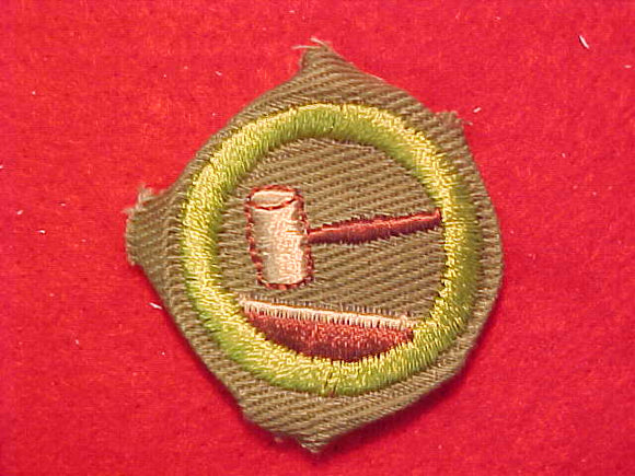 PUBLIC SPEAKING, MERIT BADGE WITH CRIMPED EDGE, KHAKI, ISSUED 1946-60