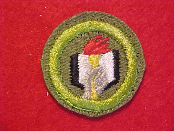 SCHOLARSHIP, MERIT BADGE WITH CRIMPED EDGE, KHAKI, ISSUED 1946-60