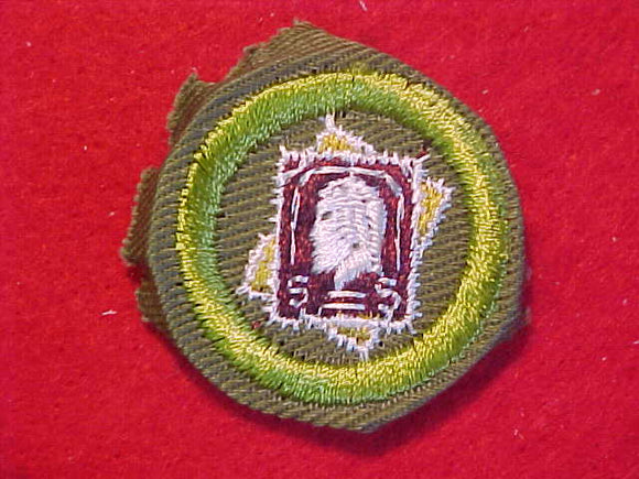 STAMP COLLECTING, MERIT BADGE WITH CRIMPED EDGE, KHAKI, ISSUED 1946-60