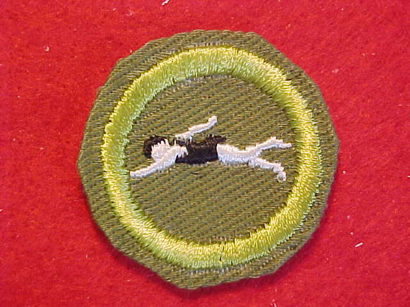 SWIMMING (WHITE BODY), MERIT BADGE WITH CRIMPED EDGE, KHAKI, ISSUED 1946-60